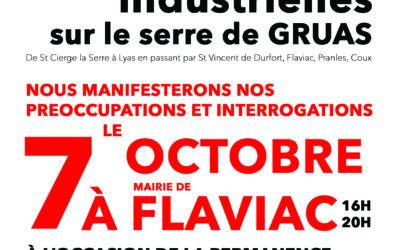 Mercredi 7 octobre – 16h à 20h, mobilisation citoyenne contre le projet de parc éolien industriel sur la commune de Flaviac